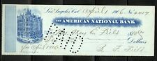 US AMERICAN NATIONAL BANK OF LOS ANGELES, CALIFORNIA CANCELLED CHECK 4/1/1906