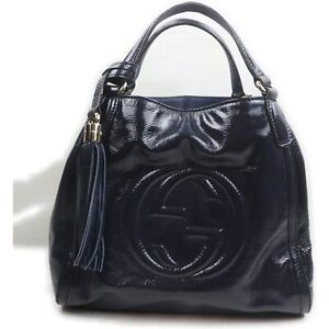 Gucci Hand Bag  Navy Blue Enamel 1907130