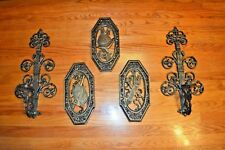 Vtg 1963 Homco Wall Sconces Candelabras Wall Hanging Plaque Set Medieval Knights
