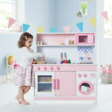 Toy Wooden Kitchen Pink Sink Oven Opening Doors Cooking Pretend Play Imagination