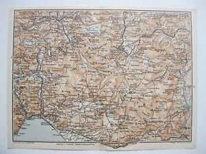 stampa antica MAPPA SALERNO AVELLINO SOLOFRA VOLTURARA CAMPAGNA EBOLI 1928