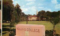 Chrome FL Postcard O435 Rollins Liberal Art College Winter Park Street View