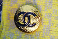 Stamped Chanel button 1 pcs  cc logo 25 mm 1 inch Large metal gold XL