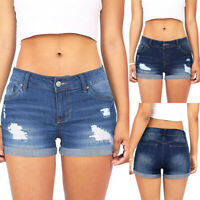 Womens Low Waisted Washed Ripped Hole Short Mini Jeans Ladies Denim Pants Shorts