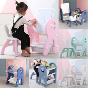 Kids Activity Table and Chair Set Toddler Build Blocks with Easel Drawing Board