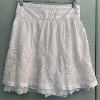 Joe Benbasset White Dressy Skirt Size L Satin Ribbon Rag Floral Elastic Waist Bk