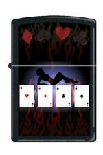 Zippo 9805 poker lady 4 aces black matte DISCONTINUED - Rare Lighter