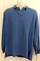 Vintage Polo Ralph Lauren Long Sleeve Polo Shirt Heathered Blue XL