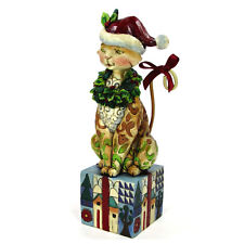 "Jim Shore Santa Claws 7.5"" Figurine 4007977 Cat Wreath Box Christmas 2007 Mib"