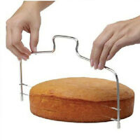 Stainless Steel Adjustable 2 Wire Cake Slicer Bread Leveler Dough Cutter Tools