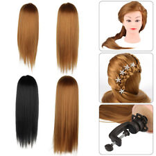 Training Head Human Long Hair Model Hairdressing Mannequin Doll+Clamp Holder