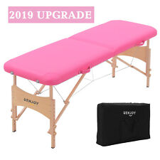 "73""L Pro Fold Portable Massage Table Facial Spa Bed Tattoo w/Free Carry Bag Pink"