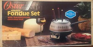 Vintage Oster Electric Fondue Set Flame Red Model 681-47 With Paperwork & Forks