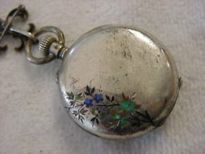 Vintage STERLING SILVER antique 1800 Porcelain Dial LONGINES ENAMEL pocket watch