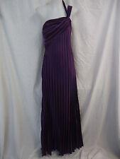 EVER-PRETTY Maxi Dress Size 12 PURPLE SATIN Pleat Detail One Shoulder Strap 4070