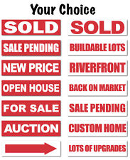 """Real Estate Sign Stickers 11.5"""" x 3"""" Weatherproof Vinyl, Bright Red, Pack of 25"""