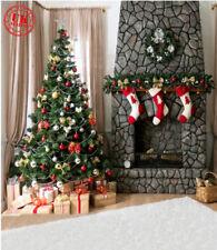 CHRISTMAS TREE FIREPLACE WHITE RED SOCKS BACKDROP VINYL PHOTO 5X7FT 150X220CM