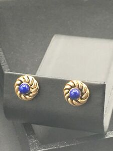 "Avon Jewelry, Pierced earrings gold tone swirl with blue ""pearl""  NOS  E-37"