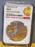 1986 US Silver Eagle NGC MS69 First Year of Issue