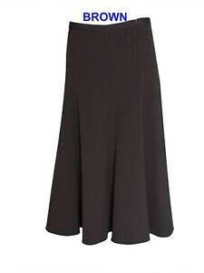 New Women's Ladies A-Line Half Elasticated Waist Plain Skirts