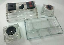 GLASS INKWELL LOT Vintage Desktop Fountain Ink Pen Decor Tabletop Display Set