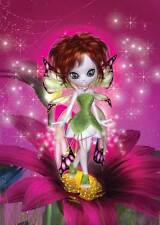 Pink Flower Fairy Birthday Card for women & girls, eye-catching fun and quirky