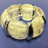 Coyne's & Co Clear Silver Stretch Cuff Bangle Bracelet