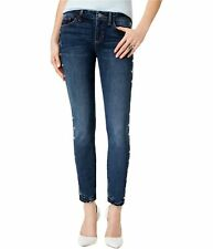 GUESS Womens Studded-Side Skinny Fit Jeans, Blue, 25