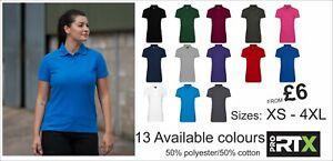Pro RTX Pro Piqué Lady Polo Shirt * XS-4XL* 50% polyester/50% cotton * 220gsm