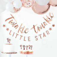 Rose Gold Twinkle Twinkle Little Star Bunting Banner Oh Baby Shower Decorations