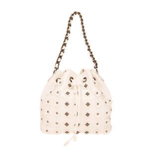RRP €270 JOHN RICHMOND Bucket Bag PU Leather Studded Two Handles Drawstring