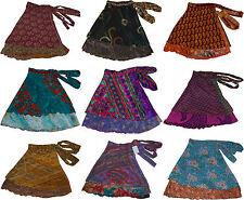 "10 Pcs Short Silk Sari Reversible Wrap Round Magic Skirt Two Layered Skirts 16"""