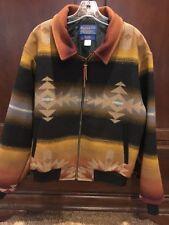 Pendleton High Grade Western Women Indian Blanket Coat Jacket  Size M Brown Tan