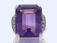 antiker Art Deco Ring Diamanten 25,00 Karat Amethyst 750 Gold 18 Karat