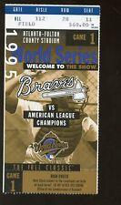 1995 World Series Ticket Stub Cleveland Indians at Atlanta Braves Game 1 EXMT