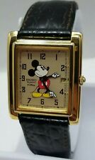 Vintage Seiko Gold Disney Mickey Mouse Watch 7N29-5029 w/Black Leather Band