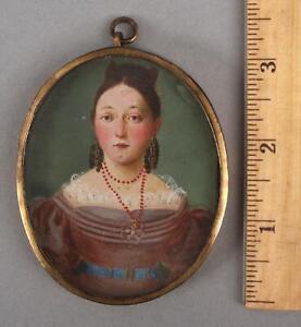 Antique 19thC Miniature Folk Art Portrait Painting Young Woman Coral Necklace