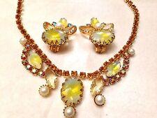 Vtg Juliana Yellow Givre Glass Rhinestone Necklace & Earrings Demi-Parure SALE