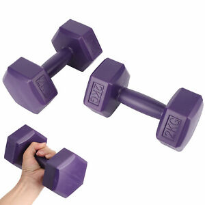 Rubber Coating Hex Unisex Fitness 4kg Dumbbell Home Fitness Gears Deep Purple
