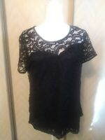 Women's Black lace top NWT. Large. Silk lining.