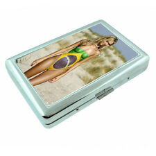 Brazilian Pin Up Girls D14 Silver Metal Cigarette Case RFID Protection Wallet