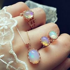 Luxus Opal Brautschmuck Schmuckset Collier Kette Ohrringe Kristall Ring Hochzeit