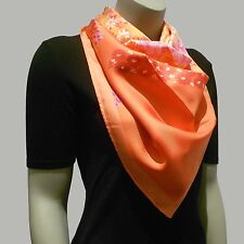 "NEW $350 Salvatore Ferragamo Silk Scarf Orange Print 34"" x 34"" inches"
