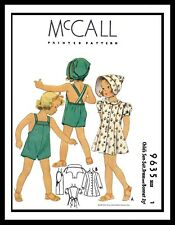 McCall 9635 Sewing Pattern Dress Frock SUNSUIT PLAYSUIT BONNET Hat GIRL Child ~1