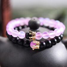 2pcs Couple Distance Bracelet CZ Crown Her King His Queen Natural Stone Bracelet