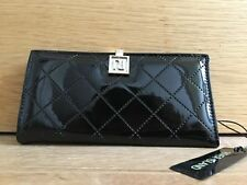 River Island BLACK patent folded clip top purse new with tags