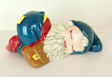 Vintage Handmade Gnome Garden Statue Happy Smiling Sleeping Napping Ceramic