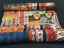 Indian Multi Color Printed Patchwork Kantha Bedding Quilt Queen Cotton Bedspread