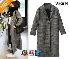 Womens Long Trench Coat Grey Check Lapel Parka Jacket Outwear Overcoat WS019