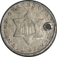 1852 3CS 3 CENT SILVER  FINE+/VF DETAILS  HOLED / CULL CONDITION  041221043